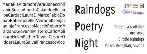 Raindogs Poetry Night_5 ottobre